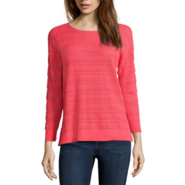 jcpenney.com | St. John's Bay® 3/4-Sleeve Pointelle Sweater