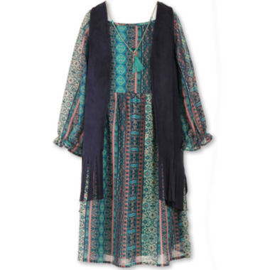 jcpenney.com | Speechless® 3/4-Sleeve Peasant Dress with Fringe Vest - Girls 7-16 and Plus