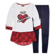 XOXO® 3/4-Sleeve Graphic Hatchi Top and Denim Knit Leggings - Girls 7-12