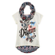 One Step Up® Short-Sleeve Chiffon-Inset Graphic Top with Scarf - Girls 7-16