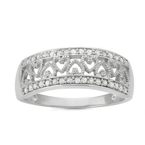 Womens 1/4 CT. T.W. Genuine Round White Diamond Sterling Silver Promise Ring