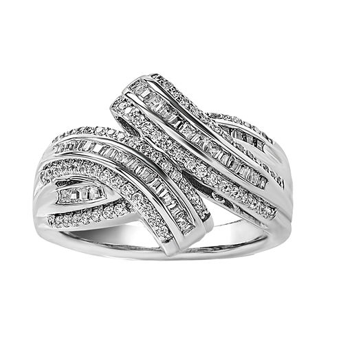 Womens 1/2 CT. T.W. Genuine White Diamond Sterling Silver Cocktail Ring