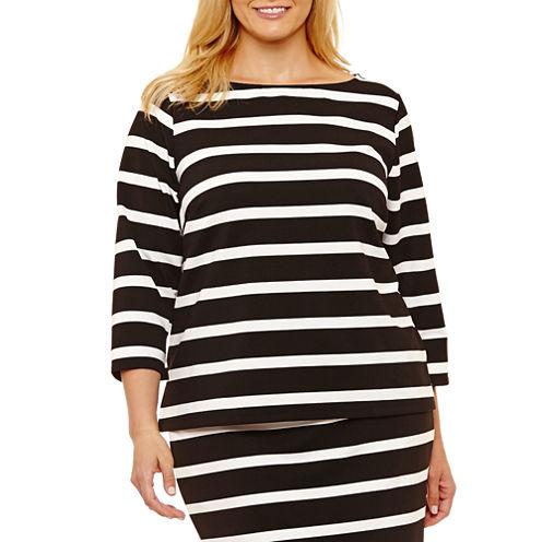 Liz Claiborne 3/4 Sleeve Boat Neck Stripe T-Shirt-Womens Plus