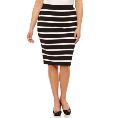 "Liz Claiborne Slim Ponte Pencil Skirt-Plus (26"")"