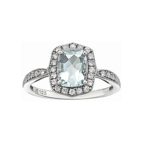 Aquamarine & Lab-Created Sapphire Ring
