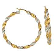14K Gold-Plated Tri-Color Twist Hoop Earrings