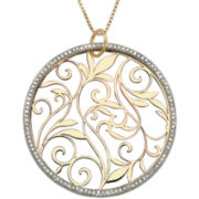 14K Gold-Over-Silver Diamond-Accent Circle Pendant Necklace