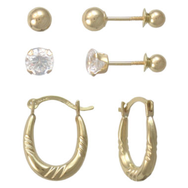 jcpenney.com | Girls 14K Gold Hoop & Stud Earring Set