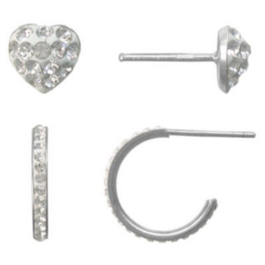 jcpenney.com | Girls Sterling Silver & Crystal 2-pr. Earring Set