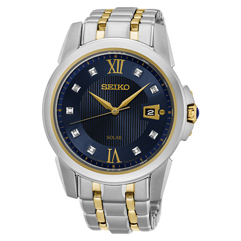 Seiko Mens Two Tone Bracelet Watch-Sne428