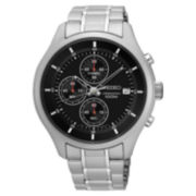 Seiko Mens Black Silver Tone Bracelet Watch