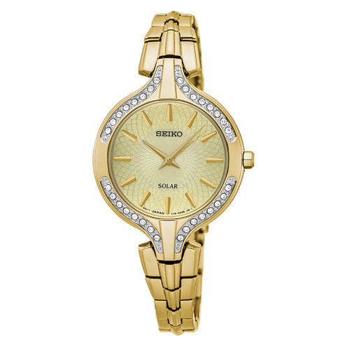 Seiko Womens Gold Tone Bracelet Watch-Sup346
