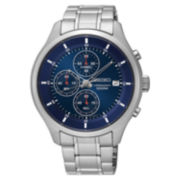 Seiko Mens Blue Silver Tone Bracelet Watch