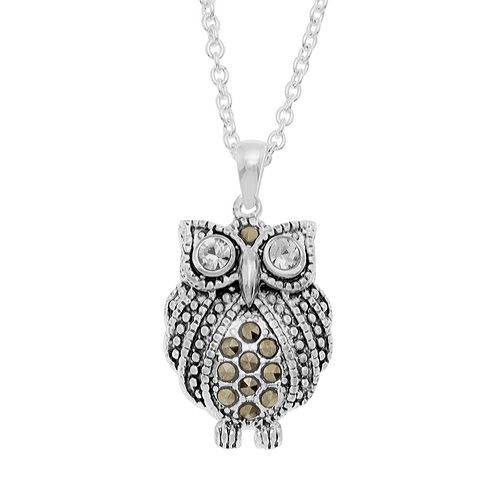 Sparkle Allure Le Vieux Silver Over Brass Pendant Necklace
