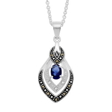 jcpenney.com | Sparkle Allure Le Vieux Marcasite Silver Over Brass Pendant Necklace
