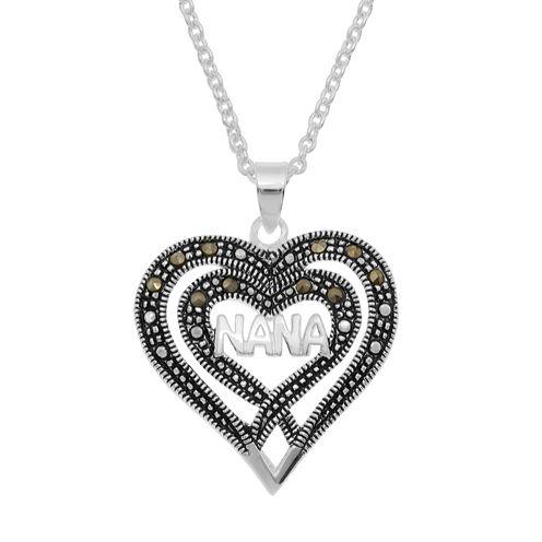 Sparkle Allure Le Vieux Womens Marcasite Silver Over Brass Pendant Necklace