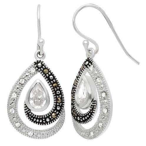 Sparkle Allure Le Vieux Marcasite Silver Over Brass Stud Earrings