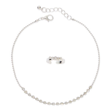 jcpenney.com | Arizona 2-pc. Silver-Tone Toe Ring and Heart Anklet Set