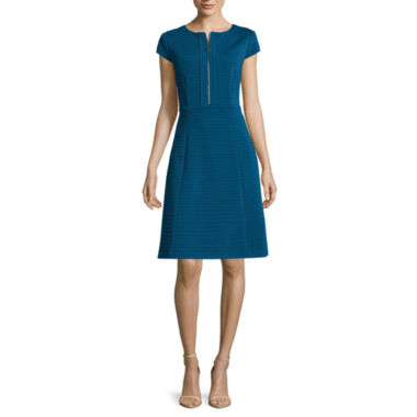 jcpenney.com | Studio 1® Cap-Sleeve Seamed Zip Up Fit-and-Flare Dress