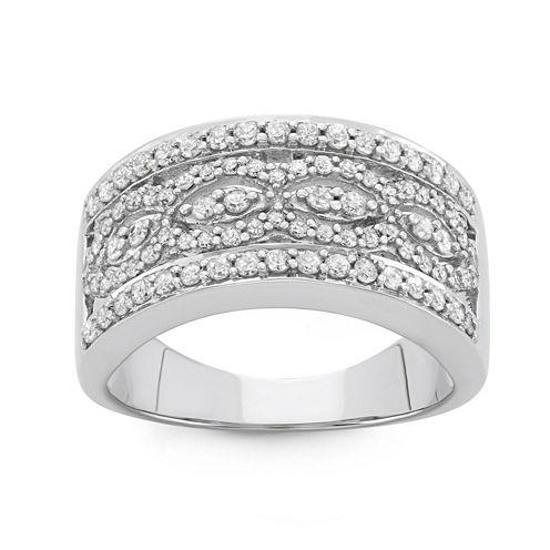 Womens 3/4 CT. T.W. Genuine White Diamond 10K Gold Band