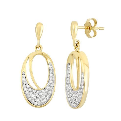 3/8 CT. T.W. White Diamond 10K Gold Drop Earrings