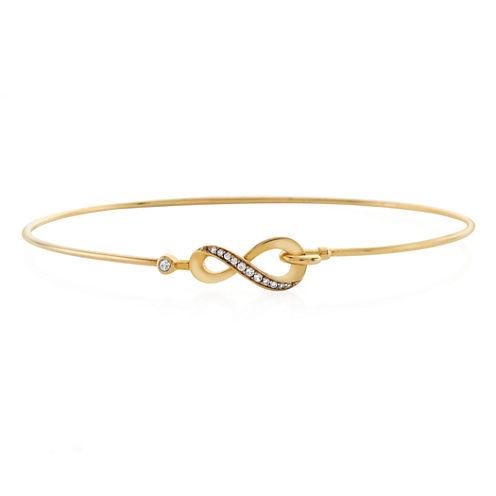 Womens Diamond Accent White Diamond 10K Gold Bangle Bracelet