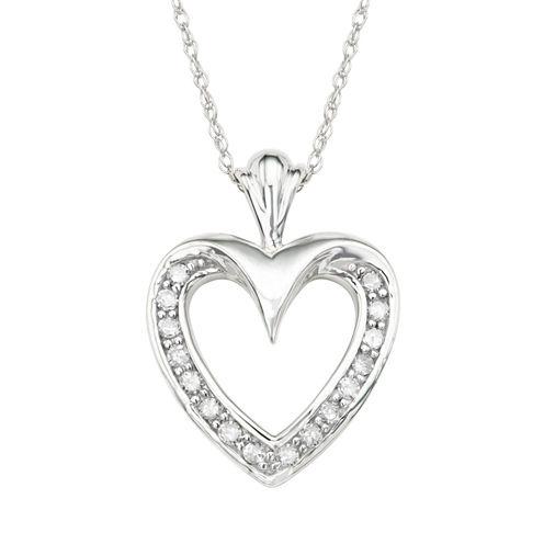 Womens 1/6 CT. T.W. White Diamond 10K Gold Pendant Necklace