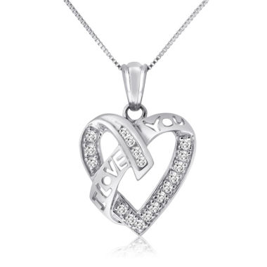 jcpenney.com | Genuine 1/4 CT. T.W. White Diamond White 10K Pendant Necklace