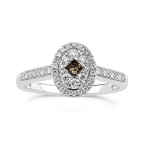 Womens 1/3 CT. T.W. Champagne Diamond Sterling Silver Cocktail Ring