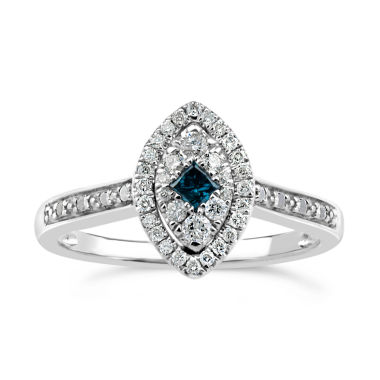 jcpenney.com | Womens 1/3 CT. T.W. Blue Diamond Sterling Silver Cocktail Ring