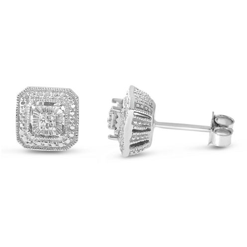 Diamond Accent Round White Diamond Accent Sterling Silver Stud Earrings