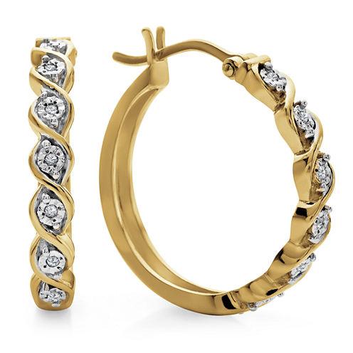 Diamond Accent White Diamond Gold Over Silver Hoop Earrings