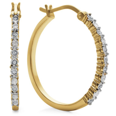 jcpenney.com | Diamond Accent White Diamond Gold Over Silver Hoop Earrings