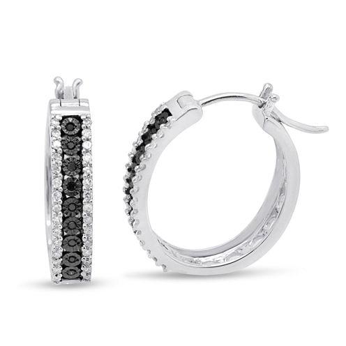 1/2 CT. T.W. Black Diamond Sterling Silver Hoop Earrings