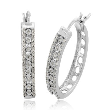 jcpenney.com | 1/2 CT. T.W. White Diamond Sterling Silver Hoop Earrings