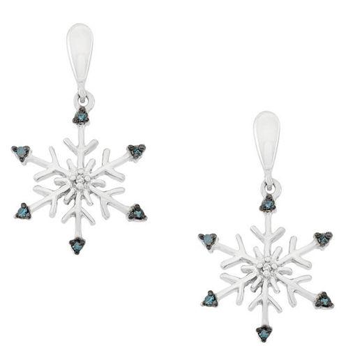 Diamond Accent Blue Diamond Sterling Silver Drop Earrings