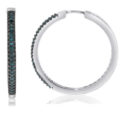 jcpenney.com | 1/2 CT. T.W. Blue Diamond Sterling Silver Hoop Earrings
