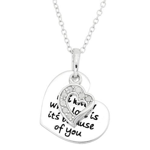 1/10 CT. T.W. Diamond Love Sterling Silver Pendant Necklace
