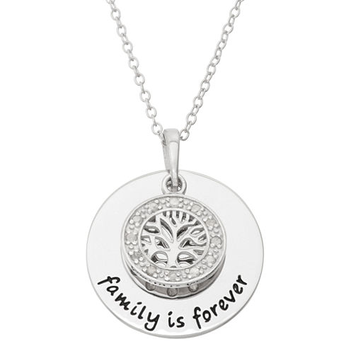 """1/10 CT. T.W. Diamond """"Family Is Forever"""" Sterling Silver Pendant Necklace"""