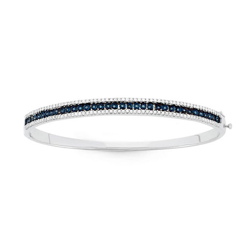 Womens 1 CT. T.W. Blue Diamond Sterling Silver Bangle Bracelet