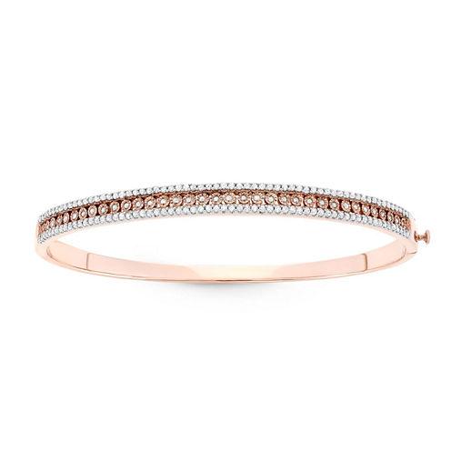 Womens 1 CT. T.W. White Diamond Sterling Silver Bangle Bracelet