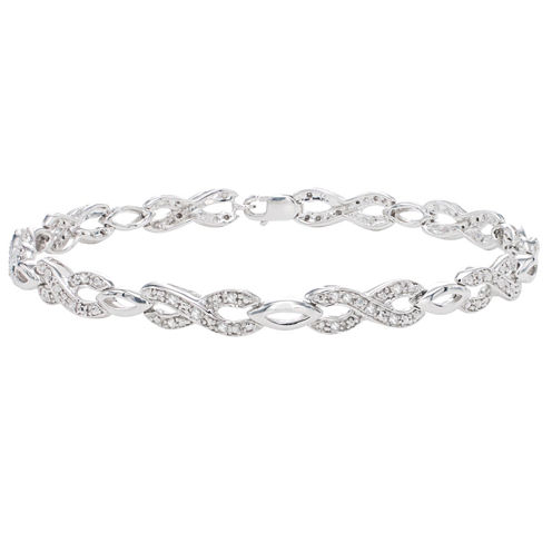 Womens 1/4 CT. T.W. White Diamond Sterling Silver Tennis Bracelet