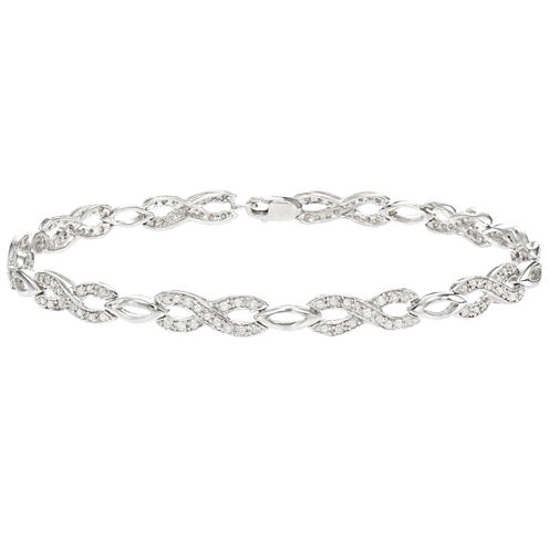 Womens 3/4 CT. T.W. White Diamond Sterling Silver Tennis Bracelet