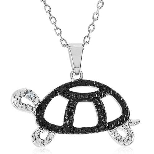 1/10 CT. T.W. Black Diamond Round Sterling Silver Pendant