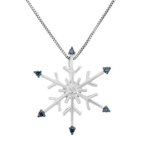Womens Diamond Accent Blue Diamond Sterling Silver Pendant Necklace