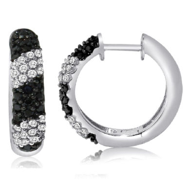 jcpenney.com | 1/2 CT. T.W. Black Diamond Sterling Silver Hoop Earrings
