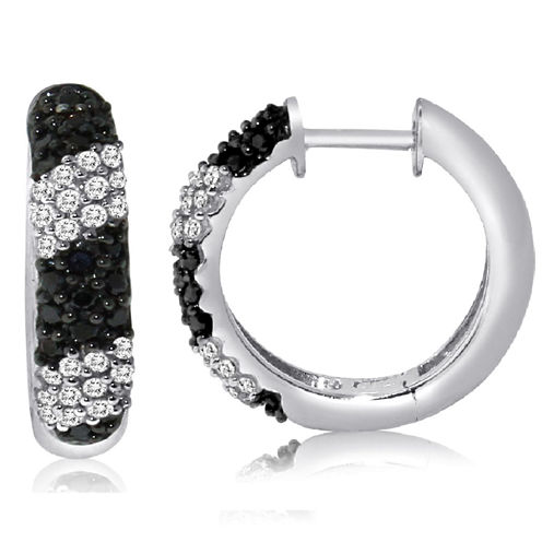 1/2 CT. T.W. Black Diamond Sterling Silver Hoop Earrings