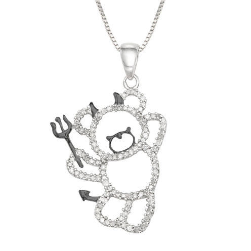 Womens 1/3 CT. T.W. White Diamond Sterling Silver Pendant Necklace