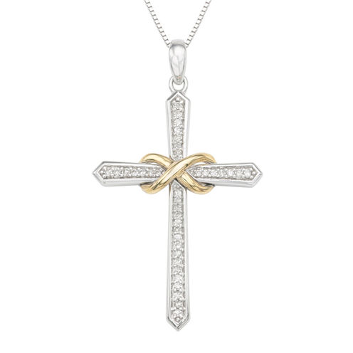 Womens 1/6 CT. T.W. White Diamond Sterling Silver Gold Over Silver Pendant Necklace