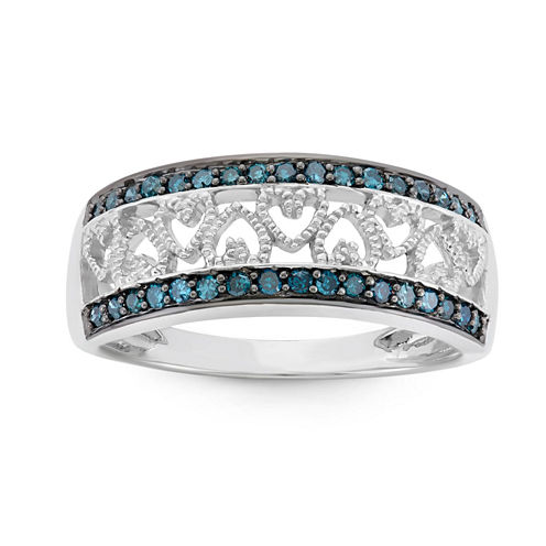 Womens 1/4 CT. T.W. Blue Diamond Sterling Silver Band